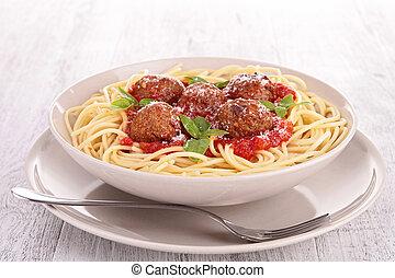 spagetti, och, kött kula