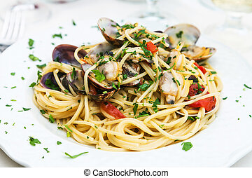 spagetti with vongole in sicilian restaurant