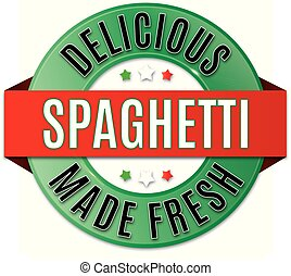 spaghetti, écusson, rond, délicieux