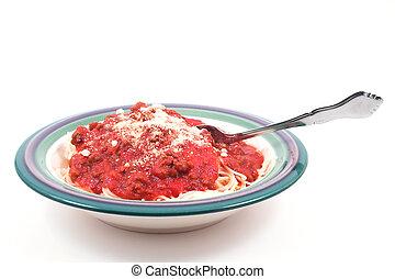 Spaghetti - A heaping bowl full of delicious spaghetti and...
