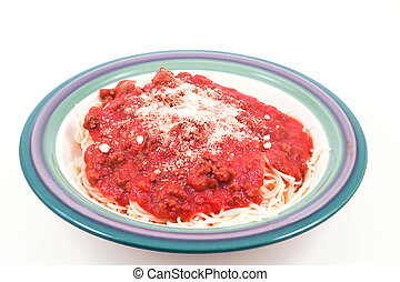 A heaping bowl full of delicious spaghetti and sauce.