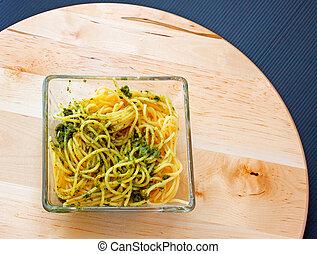 Spaghetti al pesto, typical Italian plate of pasta
