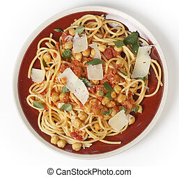 Spaghetti and chickpeas from above - Spaghetti with a...
