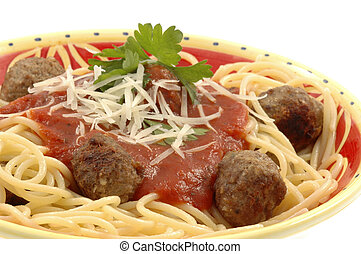 Spaghetti and Meatballs - Bowl of home-made spagetti and ...