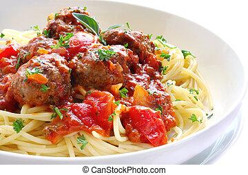 Spaghetti and Meatballs - Bowl of spaghetti and meatballs,...