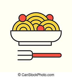spaghetti and meatballs, Food set, filled outline icon