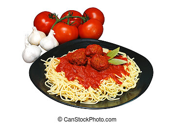 Spaghetti and Meatballs - Plate of spaghetti and meatballs ...