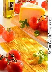 Spaghetti and tomatoes still-life