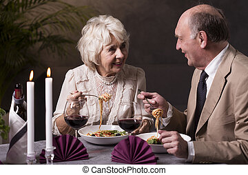 Spaghetti and wine is always good idea - Happy elderly ...