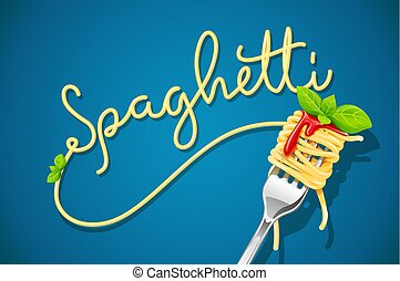 Spaghetti at fork with basil and sauce. Pasta. Organic meal...