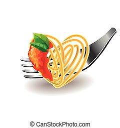 spaghetti, auf, gabel, freigestellt, vektor