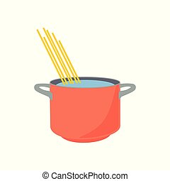 Spaghetti boiling in hot water cooking pot isolated on white background.