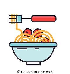 spaghetti bolognese, mit, fleisch, kugeln, italienisches...