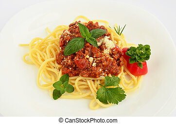 Spaghetti Bolognese on white plate close up
