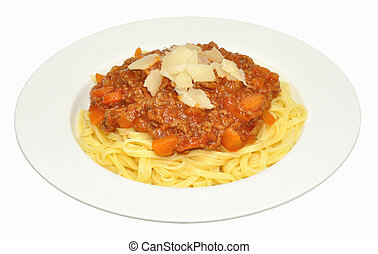 Spaghetti Bolognese - Portion of spaghetti Bolognese with...