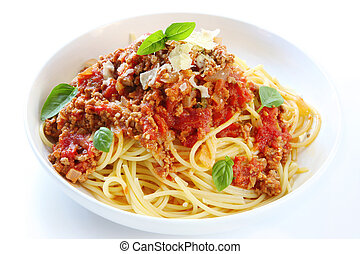 Spaghetti Bolognese - Spaghetti bolognese, topped with basil...