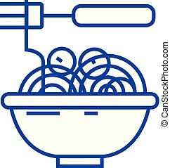 Spaghetti bolognese with meatballs line icon concept. Spaghetti bolognese with meatballs flat vector symbol, sign, outline illustration.