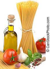 spaghetti, bottle of olive oil, tomatoes and herbs