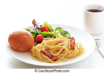 Spaghetti Carbonara on the white plate