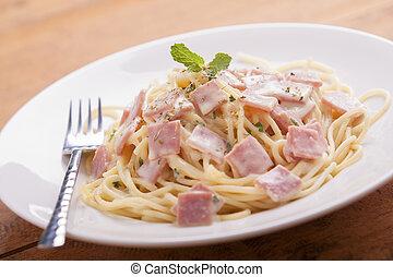 spaghetti carbonara - Spaghetti Carbonara on a white plate ...