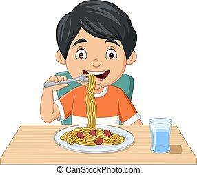 spaghetti, cartone animato, ragazzo, poco, mangiare