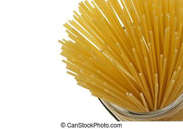 Spaghetti - Close-up some uncooked spaghetti in a jar
