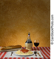 Spaghetti Dinner - Spaghetti dinner with a baguette and ...
