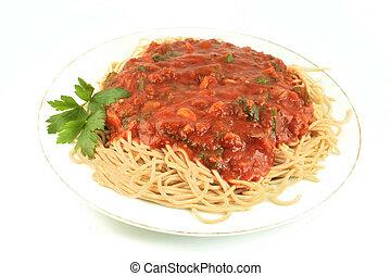 spaghetti dinner - whole wheat spaghetti with vegetable...