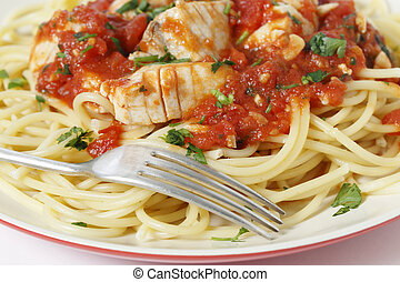 Spaghetti fish fork and arrabbiata sauce