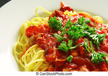Spaghetti - Freshly cooked plate of spaghetti with seafood ...