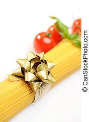 spaghetti gift, italian pasta with ribbon