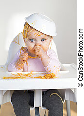 Spaghetti Head - Little Girl Eating her dinner and making a ...