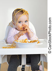 Spaghetti Head - Little Girl Eating her dinner and making a...