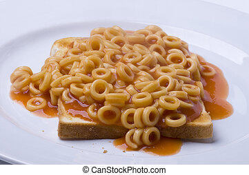 Spaghetti Hoops - A plate of spaghetti hoops on toast