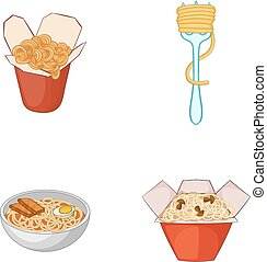 Spaghetti icon set, cartoon style