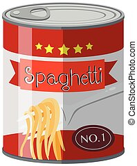 Spaghetti in aluminum can