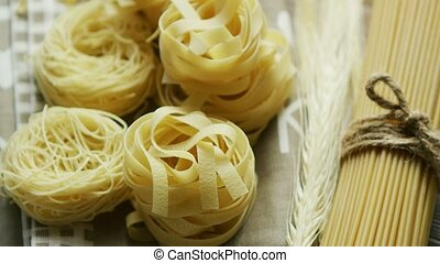 Spaghetti in shape of rolls - From above view of spaghetti...