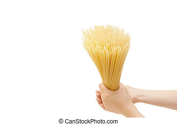 spaghetti in the hand isolated on white