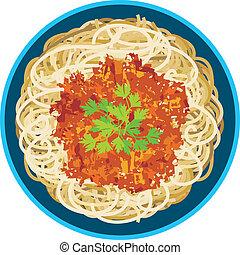 spaghetti, in, uno, piastra