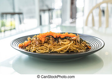 spaghetti japannese sausage with tobiko -fushion food