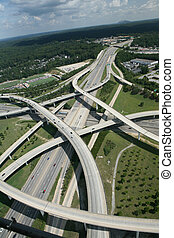Spaghetti junction interstate traffic flow