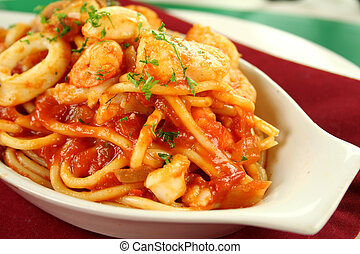 Spaghetti Marinara - Delicious spaghetti marinara with fish...