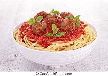 spaghetti, meatballs and tomato sauce