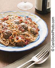 Spaghetti Meatballs in Tomato sauce with Parmesan