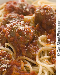 Spaghetti Meatballs sprinkled with Parmesan Cheese