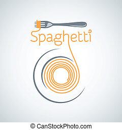 spaghetti, nudelgerichte, platte, gabel, hintergrund