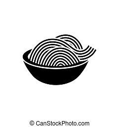 spaghetti, oder, nudel, ikone