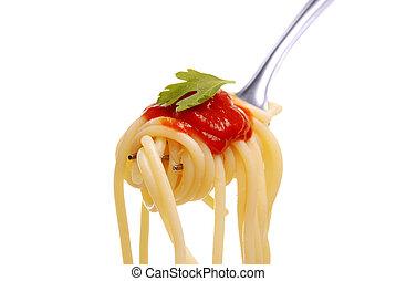 spaghetti  on a fork - spaghetti with tomato sauce on a fork