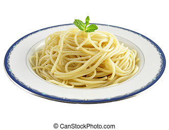 spaghetti on a plate on a white background