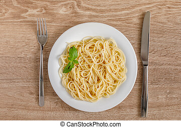 Spaghetti on a plate top view